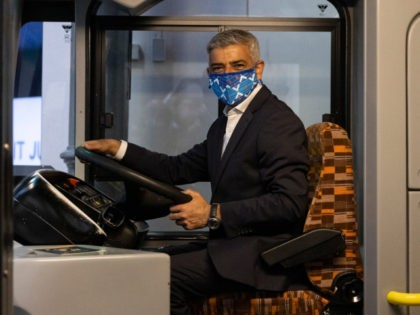 LONDON, ENGLAND - JULY 14: London Mayor Sadiq Khan sits on a bus while visiting the London Transport Museum in Covent Garden on July 14, 2021 in London, England. The mayor visited the museum to promote the #LetsDoLondon summer activity programme, as the country further emerges from pandemic-era social restrictions. …