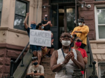 NEW YORK, NY - JULY 31: Housing activists gather to protest alleged tenant harassment by a landlord and call for the cancellation of rent in the Crown Heights neighborhood of Brooklyn, on July 31, 2020 in New York City. Since the onset of the Coronavirus crisis, millions of Americans have …
