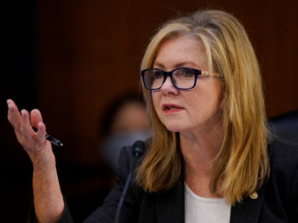 U.S. Sen. Marsha Blackburn (R-TN) speaks during the second day of her confirmation hearings before the Judiciary Committee for Supreme Court nominee Judge Amy Coney Barrett on Capitol Hill on October 13, 2020 in Washington, DC. With less than a month until the presidential election, President Donald Trump tapped Amy …