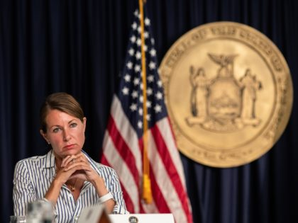 NEW YORK, NY - JULY 23: Secretary to Governor Melissa DeRosa attends during the daily media briefing at the Office of the Governor of the State of New York on July 23, 2020 in New York City. The Governor said the state liquor authority has suspended 27 bar and restaurant …