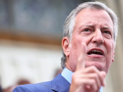 NEW YORK, NEW YORK - AUGUST 16: New York City Mayor Bill de Blasio speaks during a faith vigil for victims of an earthquake in Haiti at the steps of St. Jerome's Roman Catholic Church on August 16, 2021 in the Little Caribbean neighborhood of Brooklyn borough in New York …