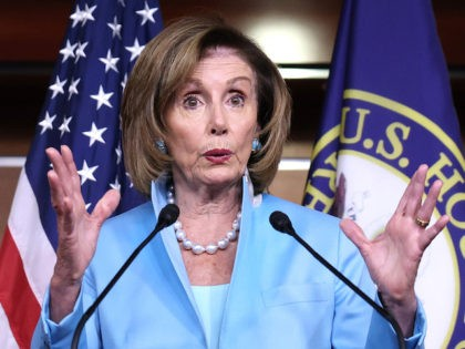 WASHINGTON, DC - AUGUST 06: House Speaker Nancy Pelosi (D-CA) gestures as she speaks at her weekly news conference at the Capitol building on August 06, 2021 in Washington, DC. Speaker Pelosi discussed numerous topics including the newly released July jobs report and the Covid-19 vaccination rate in the United …