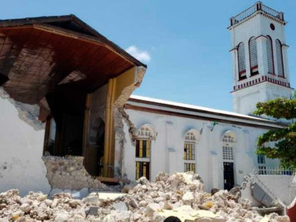acred Heart church is damaged after an earthquake in Les Cayes, Haiti, Saturday, Aug. 14, 2021. (AP Photo/Delot Jean)