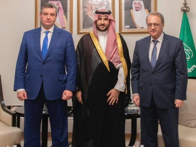 Khalid bin Salman meets with Russian Deputy Minister of Foreign Affairs and Special Representative of the President for the Middle East Mikhail Bogdanov and Chairman of the Committee on International Affairs of the Russian State Duma Leonid Slutsky. Screenshot via Twitter / Khalid bin Salman.