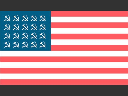 Socialist flag of the United States with hammers and sickles. Vector concept