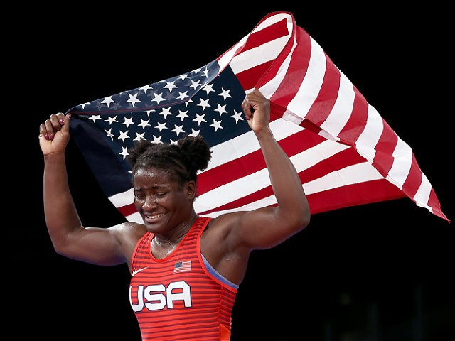 CHIBA, JAPAN - AUGUST 03: Tamyra Mariama Mensah-Stock of Team United States celebrates defeating Blessing Oborududu of Team Nigeria during the Women's Freestyle 68kg Gold Medal Match on day eleven of the Tokyo 2020 Olympic Games at Makuhari Messe Hall on August 03, 2021 in Chiba, Japan. (Photo by Tom …