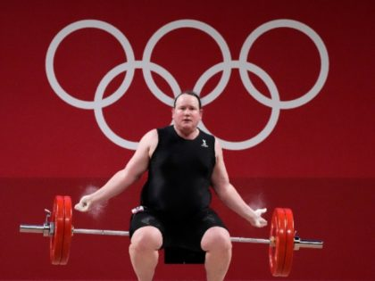 Laurel Hubbard of Team New Zealand competes during the Weightlifting - Women's 87kg+ Group A on day ten of the Tokyo 2020 Olympic Games at Tokyo International Forum. (Chris Graythen/Getty Images)