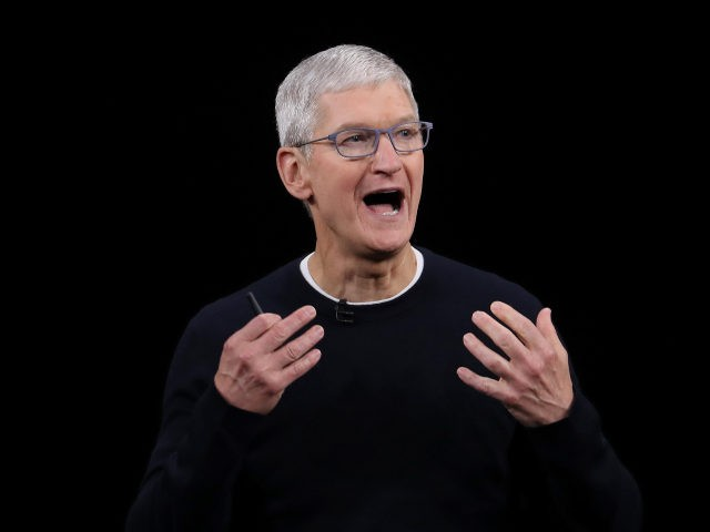 Tim Cook speaking at Apple event
