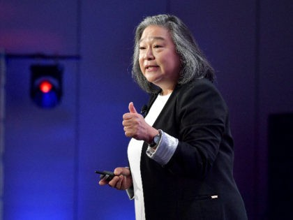 LOS ANGELES, CALIFORNIA - FEBRUARY 12: President & CEO of TIME'S UP Tina Tchen speaks onstage during The 2020 MAKERS Conference at the InterContinental Los Angeles Downtown on February 12, 2020 in Los Angeles, California. (Photo by Emma McIntyre/Getty Images for MAKERS)