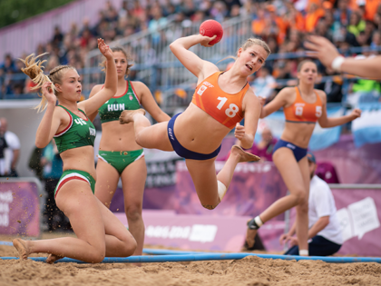 Buenos Aires, Argentina; Nyah Metz (NED) in action against Hungary during the Beach Handball Womens Tournament match between Hungary and Netherlands at The Beach Handball Arena, Tecnopolis Park. The Youth Olympic Games, Buenos Aires, Argentina. Mandatory Credit: Lukas Schulze for OIS/IOC Handout Photo via USA TODAY Sports