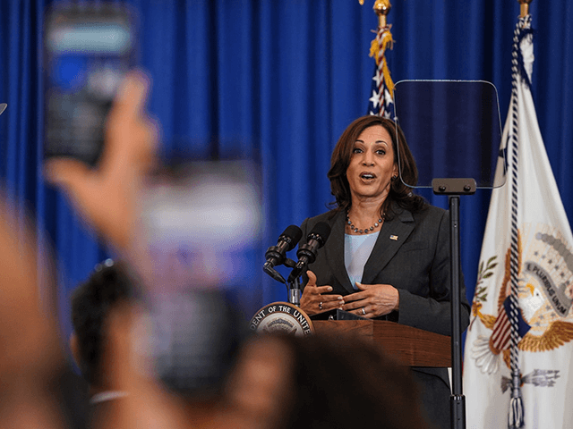 Vice President Kamala Harris speaks with people during a vaccine mobilization event at the TCF Center in downtown Detroit on Monday, July 12, 2021.