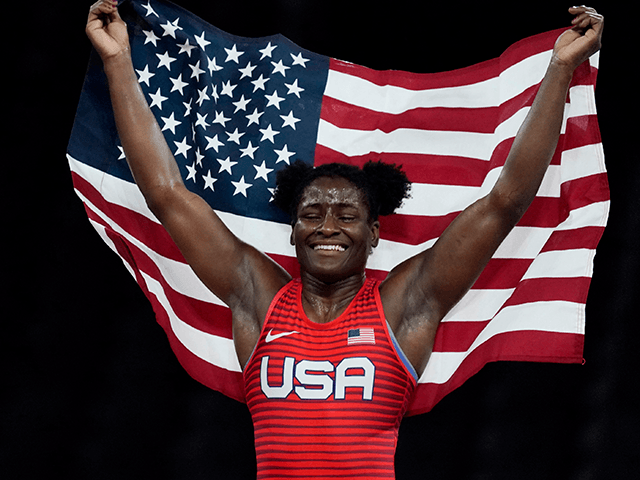 Aug 3, 2021; Chiba, Japan; Tamyra Mensah-Stock (USA) celebrates after defeating Blessing Oborududu (NGR) in the women's freestyle 68kg final during the Tokyo 2020 Olympic Summer Games at Makuhari Messe Hall A.