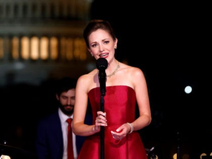 WASHINGTON, DC - MARCH 23: In this image released on July 02; Tony Award-nominated Broadway star Laura Osnes performs from Washington D.C., for A Capitol Fourth which airs on Sunday, July 4th on PBS. (Photo by Paul Morigi/Getty Images for Capital Concerts)