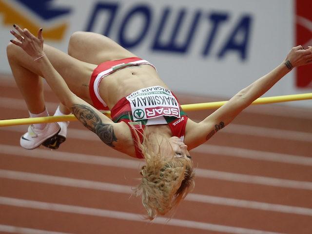 Belarus' Yana Maksimava makes an attempt in the high jump of the pentathlon during the European Athletics Indoor Championships in Belgrade, Serbia, Friday, March 3, 2017. (AP Photo/Darko Vojinovic)