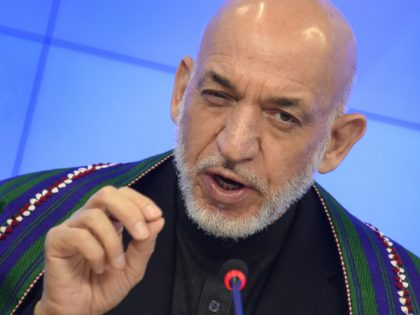 Former Afghan President Hamid Karzai speaks during a press conference in Moscow on June 25, 2015. AFP PHOTO / ALEXANDER NEMENOV (Photo credit should read ALEXANDER NEMENOV/AFP via Getty Images)