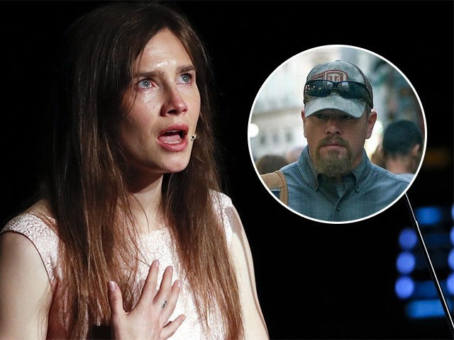 """(INSET: Matt Damon in the film Stillwater) In this June 15, 2019 file photo, Amanda Knox gets emotional as she speaks at a Criminal Justice Festival at the University of Modena, Italy. Knox is speaking out about her name being associated with the new film """"Stillwater,"""" Friday, July 30, 2021, …"""