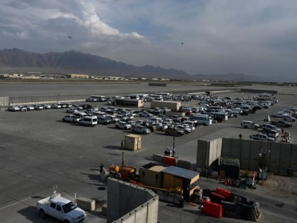 US vehicles sit in a parking lot inside the Bagram US air base after all US and NATO troops left, some 70 Kms north of Kabul on July 5, 2021. (Photo by WAKIL KOHSAR / AFP) (Photo by WAKIL KOHSAR/AFP via Getty Images)