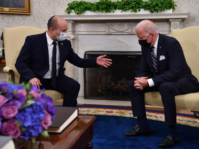 US President Joe Biden meets with Israeli Prime Minister Naftali Bennett in the Oval Office of the White House in Washington, DC, on August 27, 2021. (Photo by Nicholas Kamm / AFP) (Photo by NICHOLAS KAMM/AFP via Getty Images)