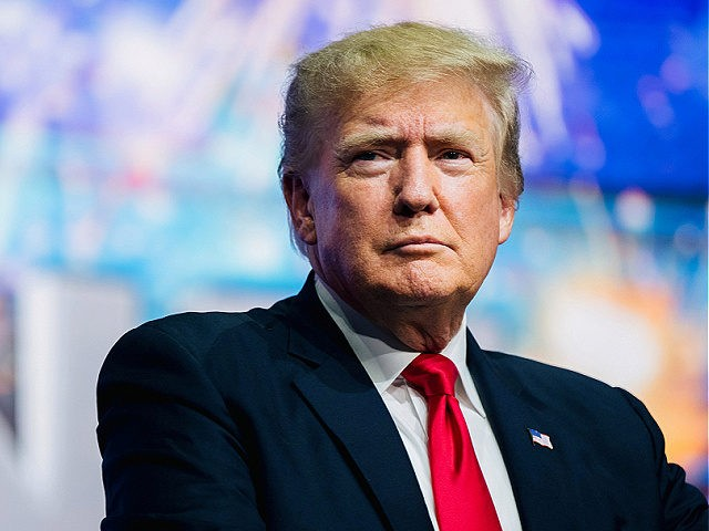 PHOENIX, ARIZONA - JULY 24: Former U.S. President Donald Trump prepares to speak at the Rally To Protect Our Elections conference on July 24, 2021 in Phoenix, Arizona. The Phoenix-based political organization Turning Point Action hosted former President Donald Trump alongside GOP Arizona candidates who have begun candidacy for government …