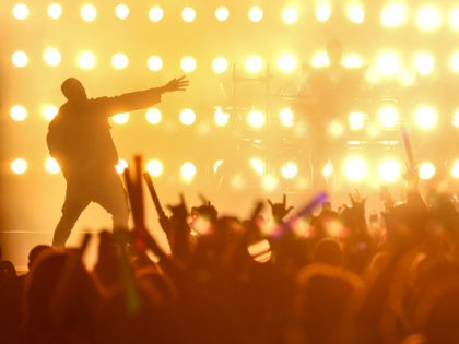Kanye West performs at Wango Tango 2015 at StubHub Center on Saturday, May 9, 2015, in Carson, Calif. (Photo by Rich Fury/Invision/AP)