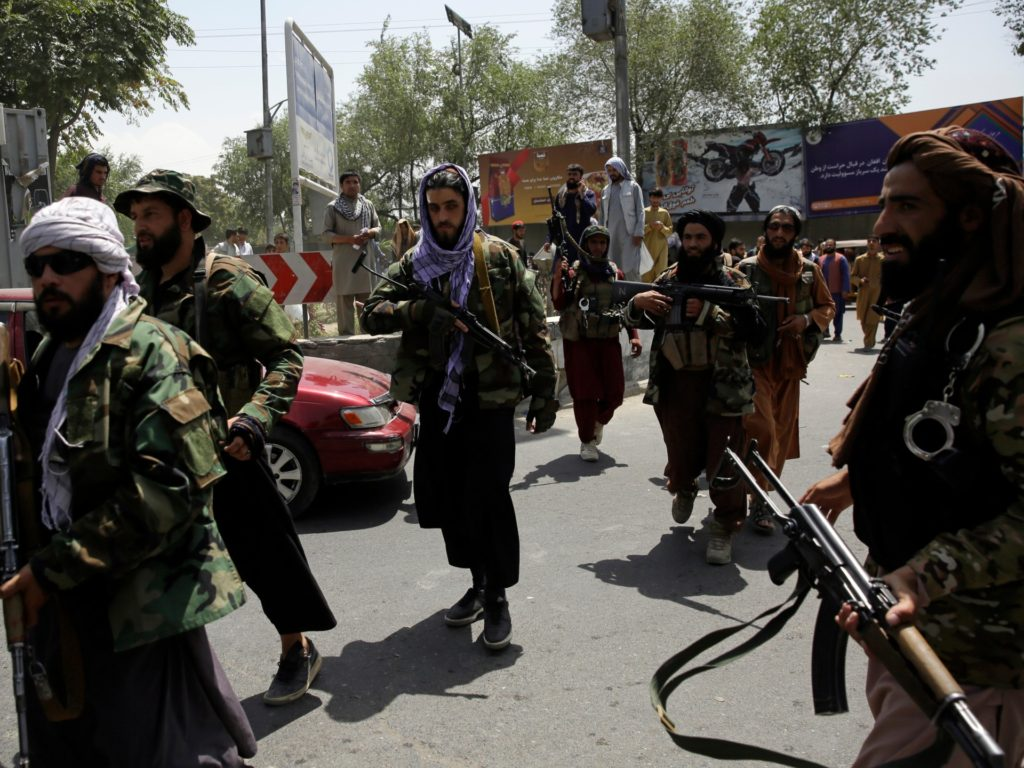 Taliban fighters patrol in Kabul, Afghanistan, Thursday, Aug. 19, 2021. The Taliban celebrated Afghanistan's Independence Day on Thursday by declaring they beat the United States, but challenges to their rule ranging from running a country severely short on cash and bureaucrats to potentially facing an armed opposition began to emerge. (AP Photo/Rahmat Gul)