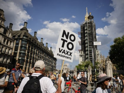 """Anti-vaccination protesters, including one holding a placard against coronavirus vaccine passports, gather in Parliament Square outside the Houses of Parliament in central London on July 19, 2021 as coronavirus restrictions are lifted in England. - Day-to-day pandemic restrictions were lifted in England on July 19 but """"freedom day"""" was met …"""