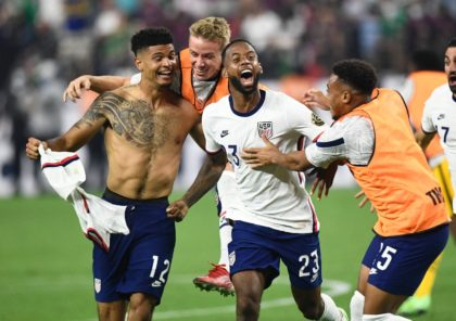 USA's Miles Robinson (left) celebrates winning the CONCACAF Gold Cup final with a 1-0 victory over Mexico in Las Vegas