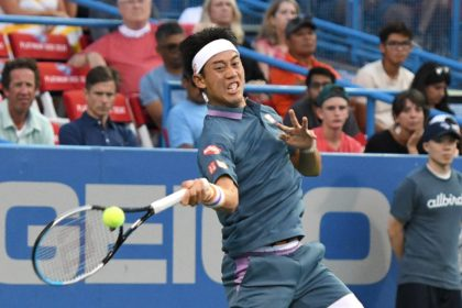 Japan's Kei Nishikori defeated American Sam Querrey on Monday in a first-round match at the ATP Citi Open in Washington