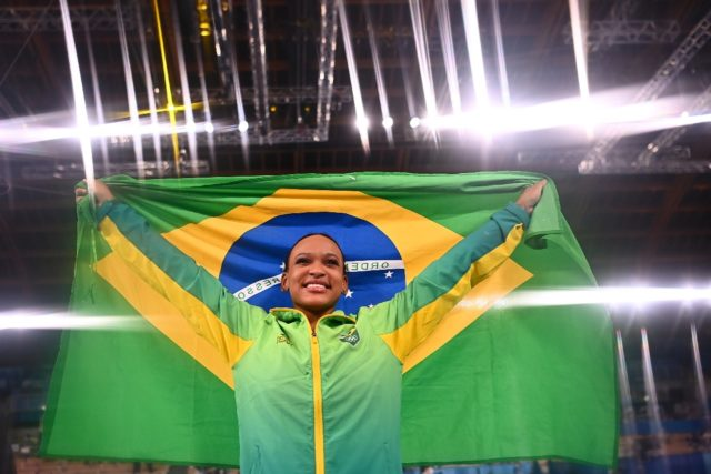 Rebeca Andrade celebrates vaulting into Brazilian sporting folklore