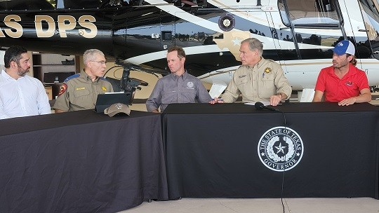 Texas Department of Public Safety Director Steve McCraw briefs Governor Greg Abbott and other officials on efforts to secure the border. (Photo: Bob Price/Breitbart Texas)