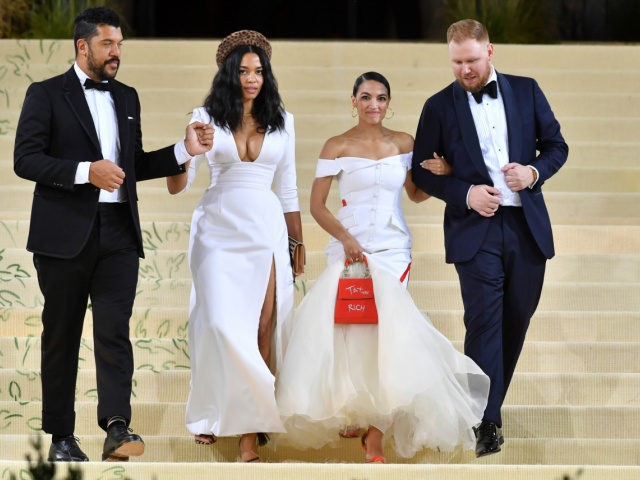 Photo by: NDZ/STAR MAX/IPx 2021 9/13/21 Benjamin Bronfman, Aurora James, Alexandria Ocasio-Cortez and Riley Roberts at the 2021 Met Gala Celebrating In America: A Lexicon Of Fashion. (New York City)