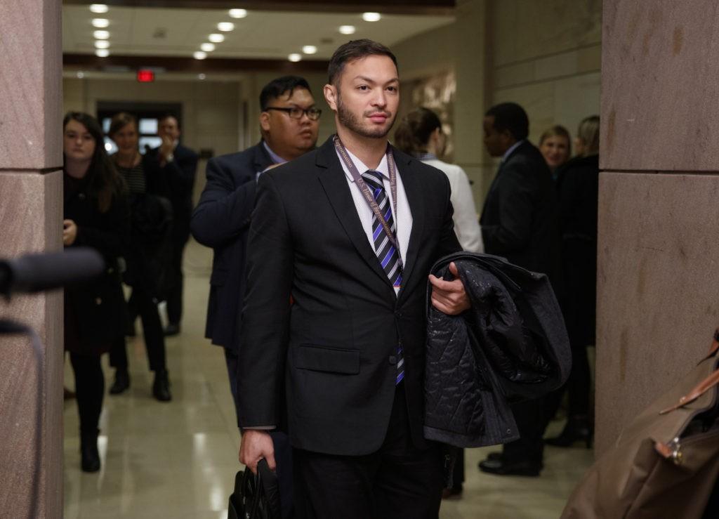 Rep.-elect Michael San Nicolas, D-Guam, walks from member-elect briefings on Capitol Hill in Washington, Thursday, Nov. 15, 2018. (AP Photo/Carolyn Kaster)