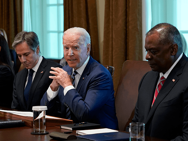 President Joe Biden speaks during a meeting with his Cabinet in the Cabinet Room at the White House in Washington, Tuesday, July 20, 2021. From left, Secretary of Education Miguel Cardona, Secretary of Health and Human Services Xavier Becerra, Secretary of the Interior Deb Haaland, Secretary of State Antony Blinken, …