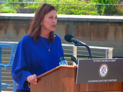 Gretchen Whitmer unveils a proposal to spend about $1 billion in federal pandemic rescue funding to boost the business climate on Monday, Aug. 23, 2021, at Rotary Park along the Grand River in Lansing, Mich. It is part of a broader $2.1 billion economic jumpstart plan that would need legislative …