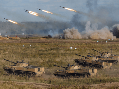 In this photo released by the Russian Defense Ministry Press Service, a view of the joint strategic exercise of the armed forces of the Russian Federation and the Republic of Belarus Zapad-2021 at the Mulino training ground in the Nizhny Novgorod region, Russia, Saturday, Sept. 11, 2021. The military drills …