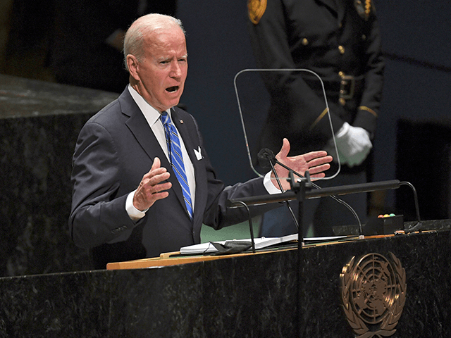 President Joe Biden speaks during the 76th Session of the U.N. General Assembly at United Nations Headquarters in New York on Tuesday, Sept. 21, 2021. (Timothy A. Clary/Pool Photo via AP)
