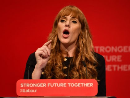 Britain's main opposition Labour Party deputy leader Angela Rayner delivers a speech on stage during the opening day of the annual Labour Party conference in Brighton, on the south coast of England on September 25, 2021. - After the pandemic upended political campaigning, Britain's main parties will aim to reconnect …