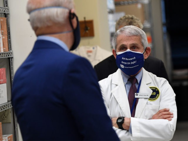 White House Chief Medical Adviser on Covid-19 Dr. Anthony Fauci (R) listens to US President Joe Biden (L) as he tours the Viral Pathogenesis Laboratory at the National Institutes of Health (NIH) in Bethesda, Maryland, February 11, 2021. (Photo by SAUL LOEB / AFP) (Photo by SAUL LOEB/AFP via Getty …