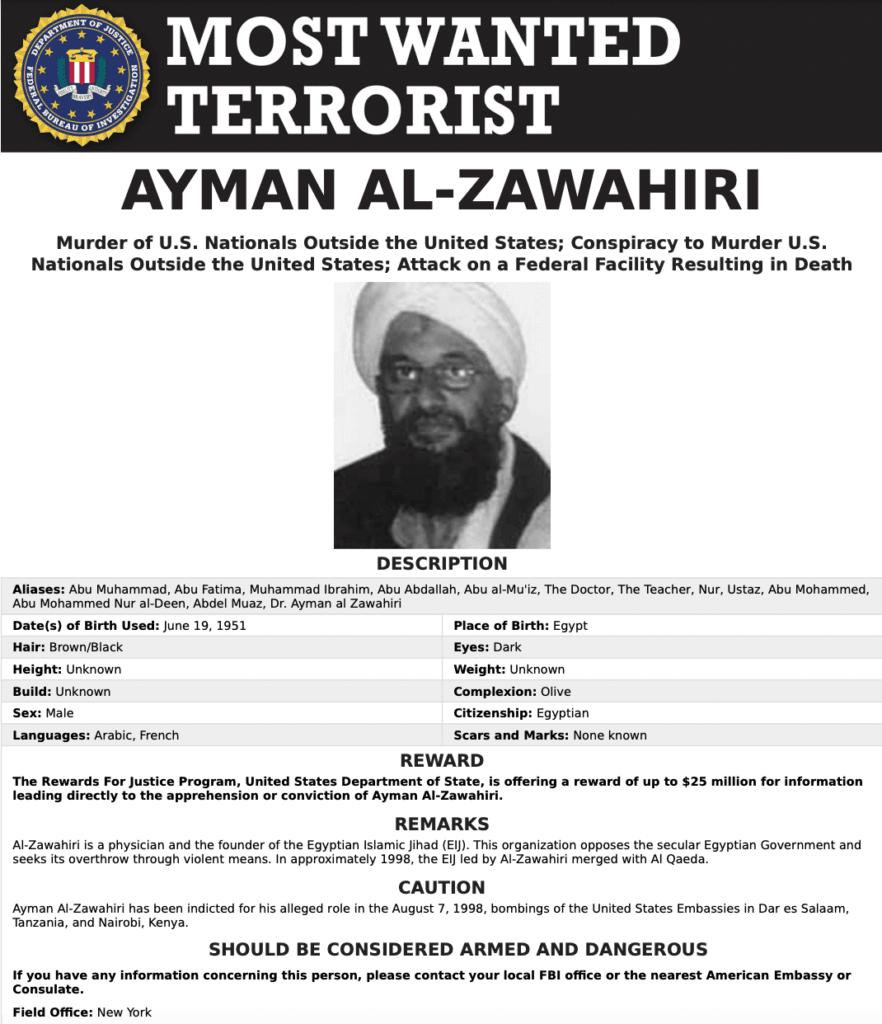 Ayman al-Zawahiri/FBI Most Wanted Terrorists