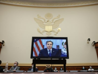 WASHINGTON, DC - SEPTEMBER 13: U.S. Secretary of State Antony Blinken testifies virtually in a House Foreign Affairs Committee on Capitol Hill on September 13, 2021 in Washington, DC. The committee questioned Blinken about the steps President Joe Biden's administration took during the withdrawal of troops in Afghanistan. (Photo by …