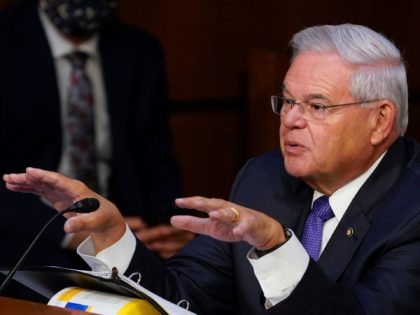 Sep 28, 2021; Washington, DC, USA; Senator Bob Menendez (D-NJ) during the Senate Banking, Housing, and Urban Affairs committee hearing with Janet Yellen, Secretary, Department of the Treasury and Jerome Powell, Chairman, Board of Governors of the Federal Reserve System, to examine CARES Act oversight of the Treasury and Federal …