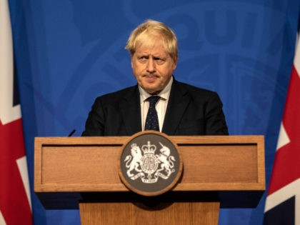 LONDON, ENGLAND - SEPTEMBER 14: Britain's Prime Minister Boris Johnson attends a press conference in the Downing Street Briefing Room on September 14, 2021 in London, England. The prime minister's briefing was preceded by his health secretary's appearance before the House of Commons, in which he laid out the country's …