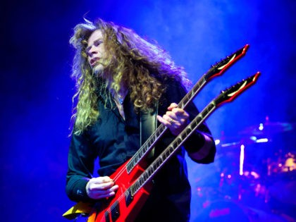 Singer and guitarist Dave Mustaine of the American trash metal band Megadeth performs during their concert in the Budapest Sports Arena in Budapest, Hungary, late Friday, April 8, 2011. (AP Photo/MTI, Balazs Mohai)