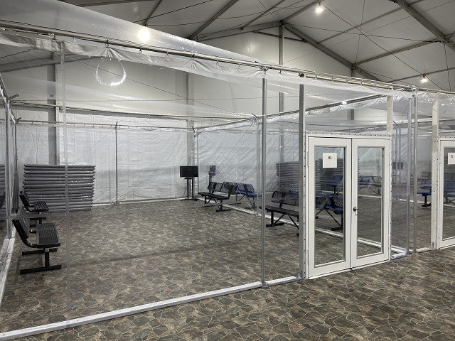 A soft-sided detention and processing center built in Eagle Pass, Texas, earlier this year is nearly identical to the one being built in Laredo. (File Photo: Randy Clark/Breitbart Texas)