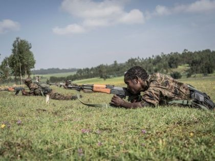 Ethiopian National Defence Forces (ENDF) soldiers train in the field of Dabat, 70 kilometers Northeast of the city of Gondar, Ethiopia, on September 15, 2021. (Amanuel Sileshi/AFP via Getty Images)