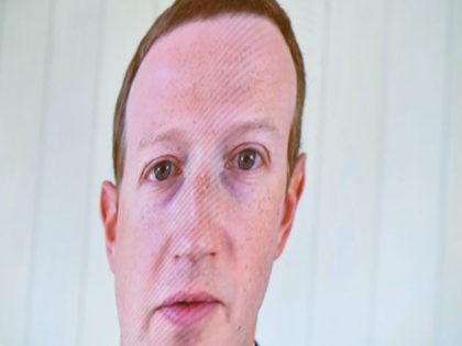 Facebook's Mark Zuckerberg askew on a TV