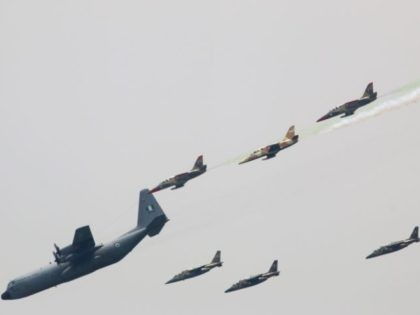 Nigerian Air Force planes perfom during a military parade marking the country's 58th anniversary of independence, on October 1, 2018, on Eagle Square in Abuja. (Photo by Sodiq ADELAKUN / AFP) (Photo credit should read SODIQ ADELAKUN/AFP via Getty Images)