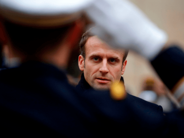 French President Emmanuel Macron attends a military ceremony (Prise d'armes) at the Invalides in Paris, on November 26, 2018. (Photo by PHILIPPE WOJAZER / POOL / AFP) (Photo credit should read PHILIPPE WOJAZER/AFP via Getty Images)