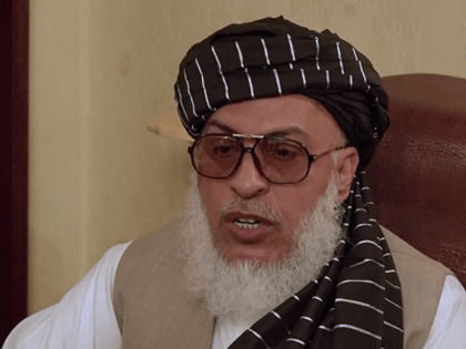 This AFPTV screen grab from a video made on May 28, 2019 in Moscow shows Afghan Taliban Stanikzai Sher Mohammad Abbas on the sidelines of a conference marking a century of diplomatic relations between Afghanistan and Russia, followed by discussions with Afghan politicians about the future of the country. - …