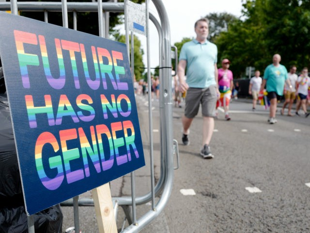 BRIGHTON, ENGLAND - AUGUST 03: A discarded placard which reads 'future has no gender' at today's Brighton Pride on August 3, 2019 in Brighton, England. Brighton and Hove Pride is one of the largest Pride parades in Europe. (Photo by Andrew Hasson/Getty Images)
